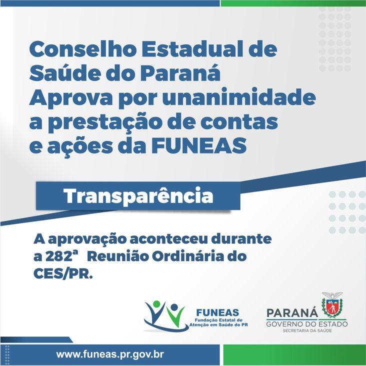 Conselho Estadual de Saúde do Paraná aprova contas da Funeas 2020